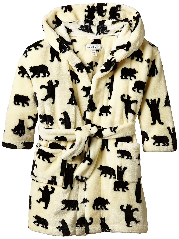 Hatley Boys Kids Fleece Black Bears On Natural Robe