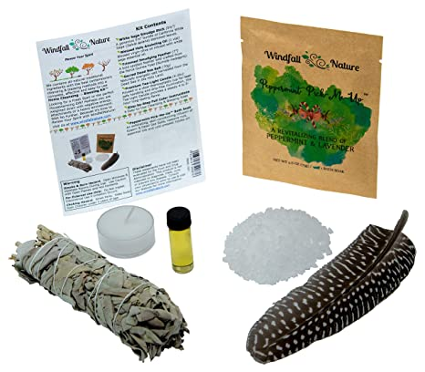 Home Cleansing & Blessing Kit -:- Includes Fresh California White Sage  Smudge Stick + Smudging Feather + Blessed Anointing Oil + Tea Light Candle  +