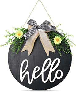 Hello Welcome Sign for Front Door Porch Signs Hello Summer Sign Wood Hanging Round Farmhouse Wreath Housewarming Gift Rustic Home Decor Door Wreaths Front Door Decorations