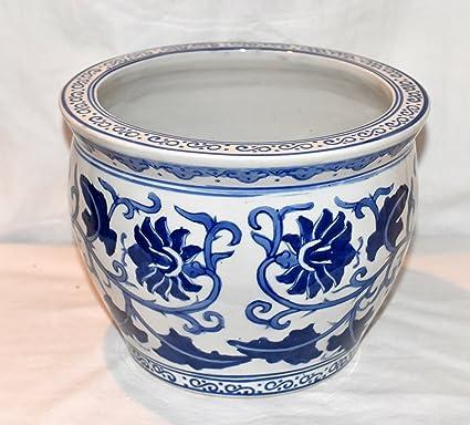Amazon Com New 8 Oriental Blue White Floral Vine Design Fish