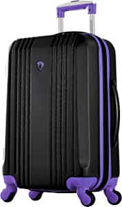 """Olympia Apache Ii 21"""" Carry-on Spinner, BLACK+PURPLE, One Size"""