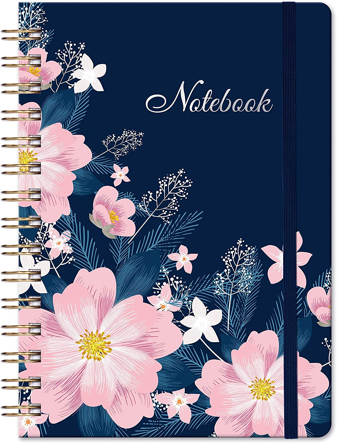 "Ruled Journal/Notebook - Lined Journal with Hardcover, 8.35"" x 6.3"", College Ruled Journal, Inner Pocket, Strong Twin-Wire Binding with Premium Paper, Perfect for School, Home & Office - Flower"