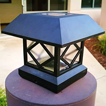 Sogrand 2pcs Pack,Solar Post Lights,Fits 5 Post Sizes With Adaptors Black