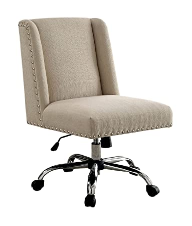 High Quality HOMES: Inside + Out Idf FC642IV Bronzite Wingback Office Chair, Ivory