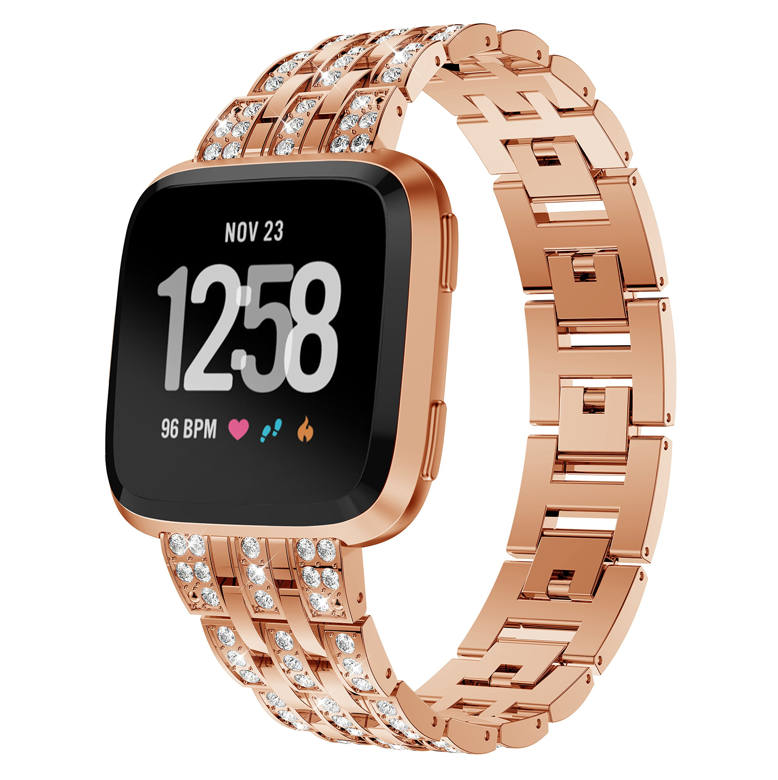 KisFace Metal Band for Fitbit Versa,Rhinestone Series Accessories Quick Release Unit Design for Fitbit Versa Band(Classic Rose Gold). by KisFace