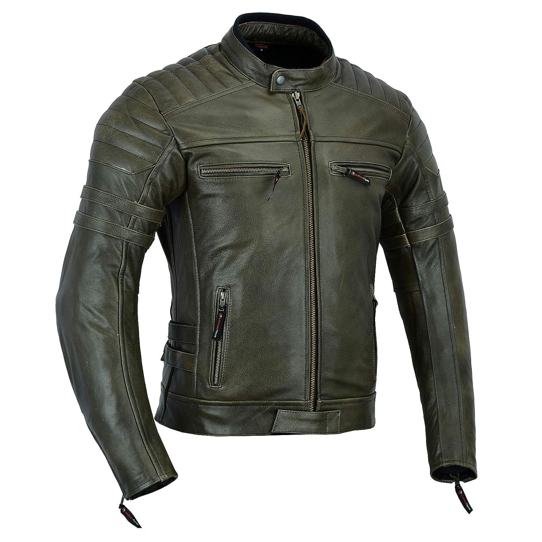 LeatherTeknik DC-4092 Chaqueta de piel para hombre con armadura color marr/ón