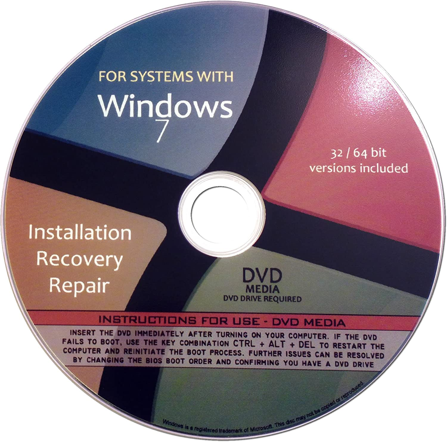 Windows 7 All in One (Starter, Home Basic, Home Premium, Professional, Ultimate) 32/64 Bit Repair, Recovery, Restore, Re-install DVD