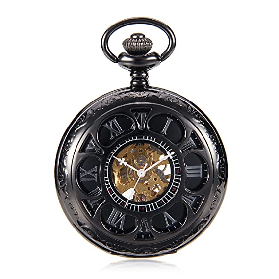Black Flower Hollow Case Roman Number Skeleton Mechanical Pocket Watch With Chain For Women Men reloj