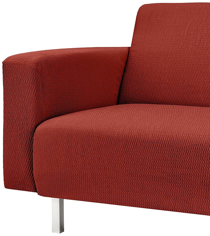 TEXTURAS VIP- Funda de sofá Elástica LOW COST (Varios tamaños disponibles)  (3_Plazas_180_210_cms, Teja)