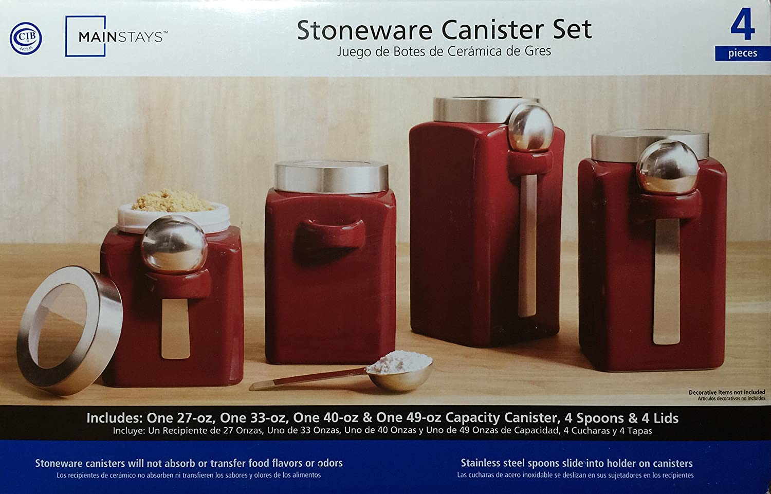 Amazon.com: Mainstays Red Stonewear Kitchen Canister Set, 4pc: Home & Kitchen
