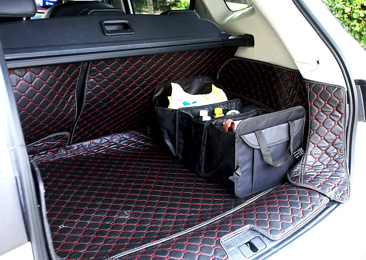 CARMAXKO Trunk Organizer Auto Storage Bag Collapsible Portable with Cooler Heat Reservation with Straps Aluminum Foil Cover for Car SUV for Road Trip Solid Pockets with Lid