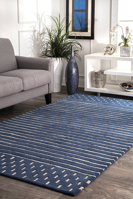 Amazon Com Nuloom Marlowe Stripes Wool Area Rug 7 6 X 9 6 Navy Furniture Decor