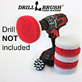 Power Scrubber Scumbusting Scrub Pad Bathroom Cleaning Kit With 2in short white brush by Drillbrush