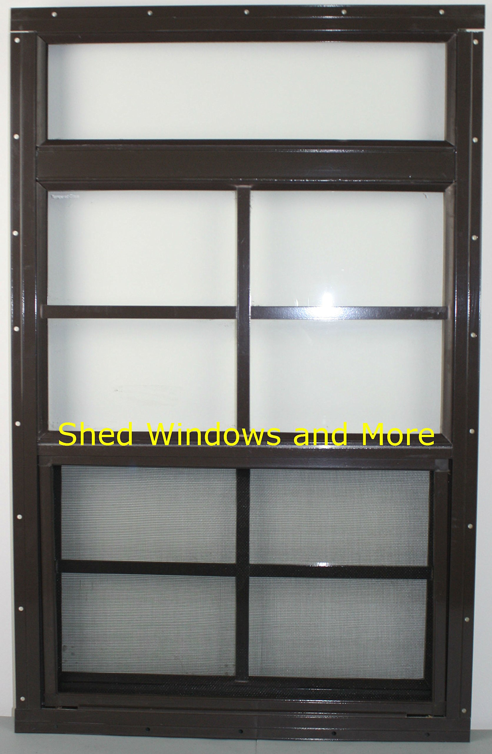 Shed Windows 24'' X 34'' Moreview Brown Flush Mount Safety/Tempered Glass, Playhouse Windows, Chicken Coop Windows