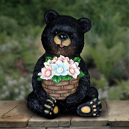Exhart Solar Black Bear Holding a Flower Basket Garden Statue w/LED Light