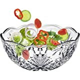 Elegant Large Crystal Clear Salad Bowl, Glass Mixing Bowl, All Purpose Round Serving Bowl