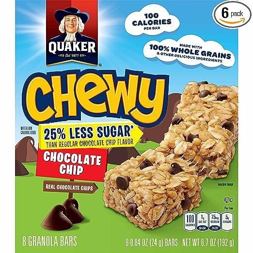 Quaker Chewy Granola Bars, 25% Less Sugar, Chocolate Chip, 8 - 0.84 OZ Bars Per Box (Pack of 6)