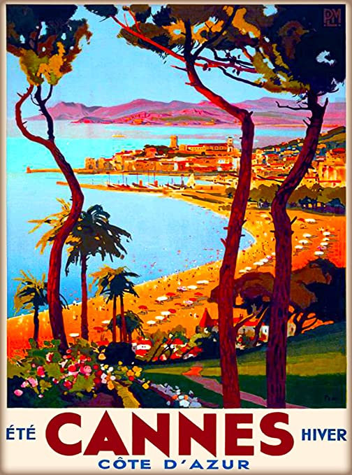 """Vintage Illustrated Travel Poster CANVAS PRINT Discover France Riviera 8/""""X 12/"""""""