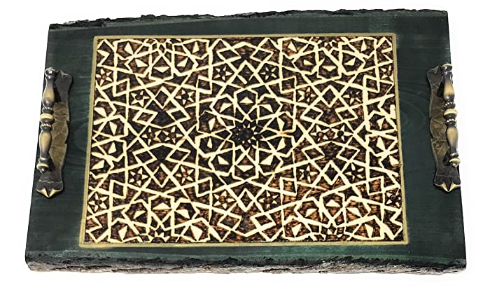 Magnificent Midnight Blue Handmade And Handcrafted Decorative Wooden Tray Or Large Ottoman Coffee Table Coaster Tray With Medieval Mamluk Geometric Arabesque Art Unemploymentrelief Wooden Chair Designs For Living Room Unemploymentrelieforg