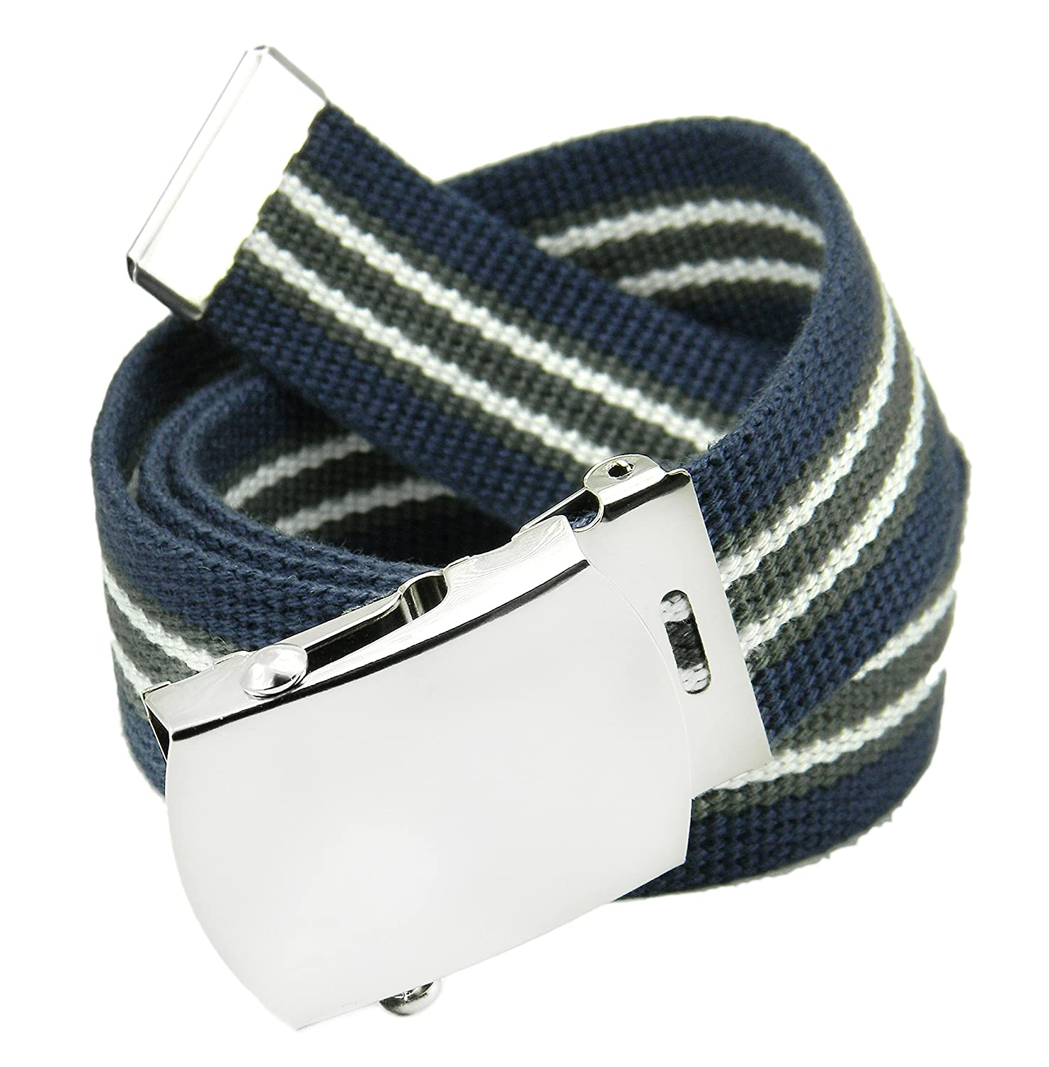 Boy's School Uniform Silver Slider Military Belt Buckle with Canvas Web Belt Husky X-Large White 8000-XL-WH