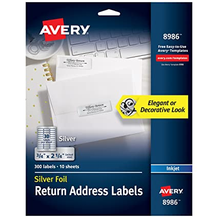 amazon com avery silver address labels for inkjet printers 3 4 x