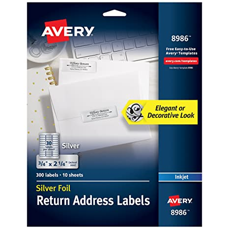 image relating to Printable Trophy Labels identified as Avery Silver Go over Labels for Inkjet Printers, 3/4\