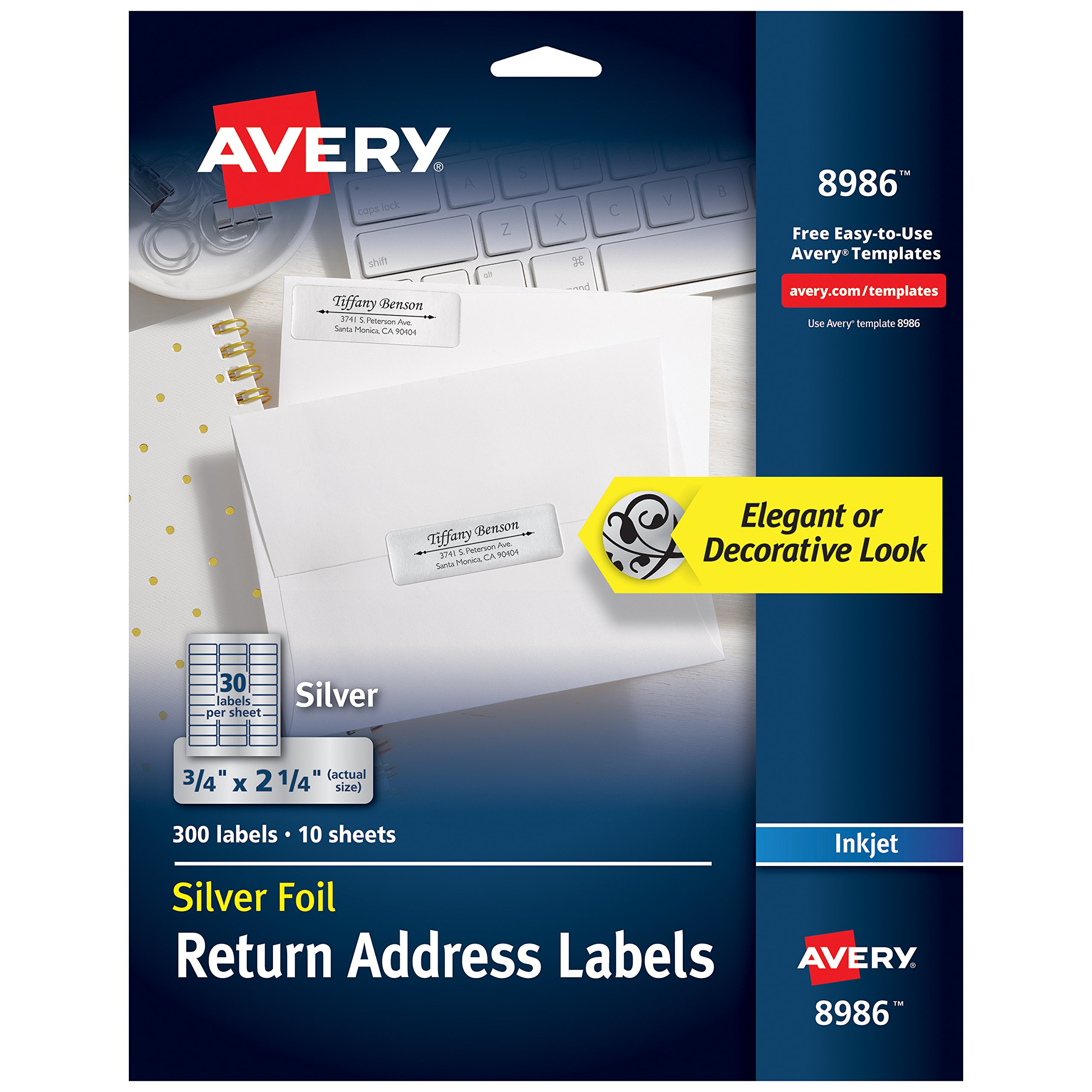 Avery Silver Address Labels for Inkjet Printers, 3/4'' x 2-1/4'', 300 Labels (8986)