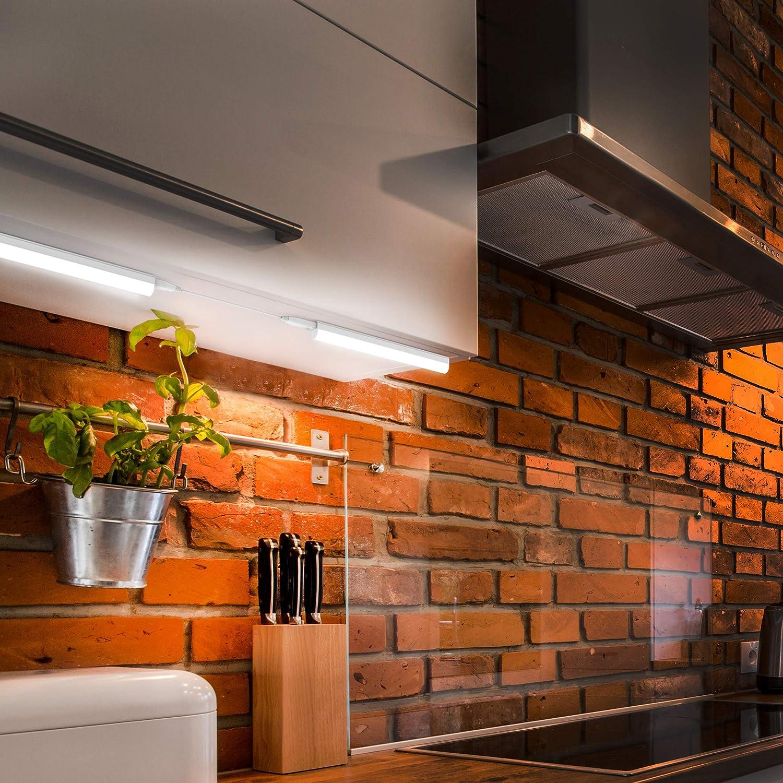 B.K.Licht - Regleta LED bajo armarios y cabinetes, de luz blanca neutra, iluminación bajo mueble con interruptor de luz, 4W, 4000K, 400lm, color blanco: Amazon.es: Iluminación
