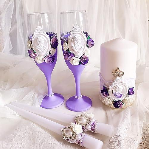 Amazon.com: Wedding Set of Champagne Flutes and Glasses Unity ...