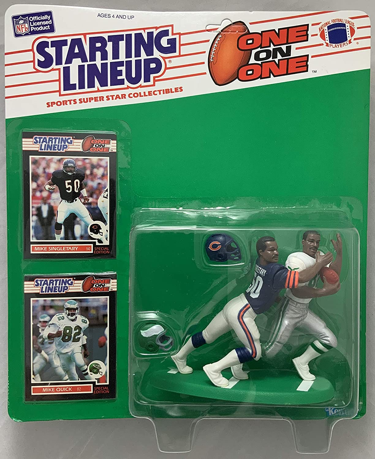 1989 KENNER STARTING LINEUP NFL ONE ON ONE MIKE SINGLETARY MIKE QUICK CHICAGO BEARS PHILADELPHIA EAGLES MOC