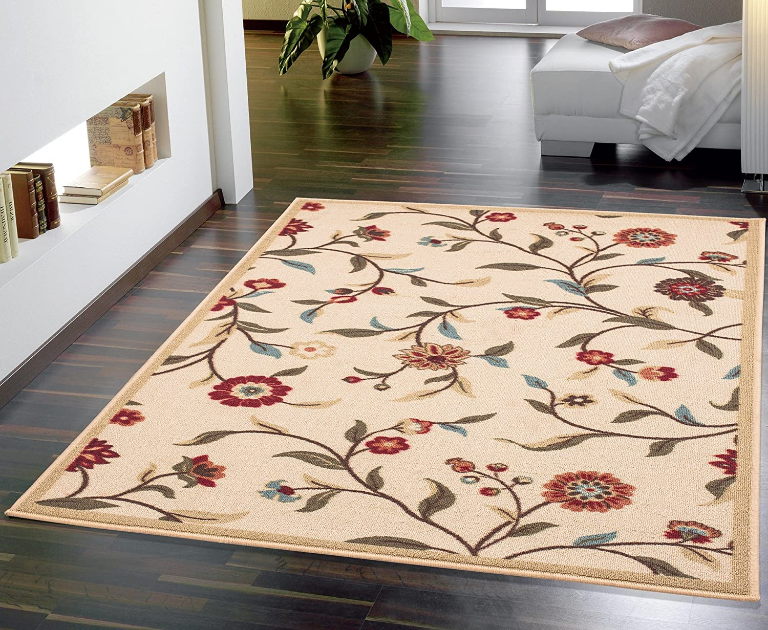 "Ottomanson Ottohome Collection Floral Garden Design Modern Area Rug with Non-Skid (Non-Slip) Rubber Backing, Beige, 3'3"" L x 5'0"" W"