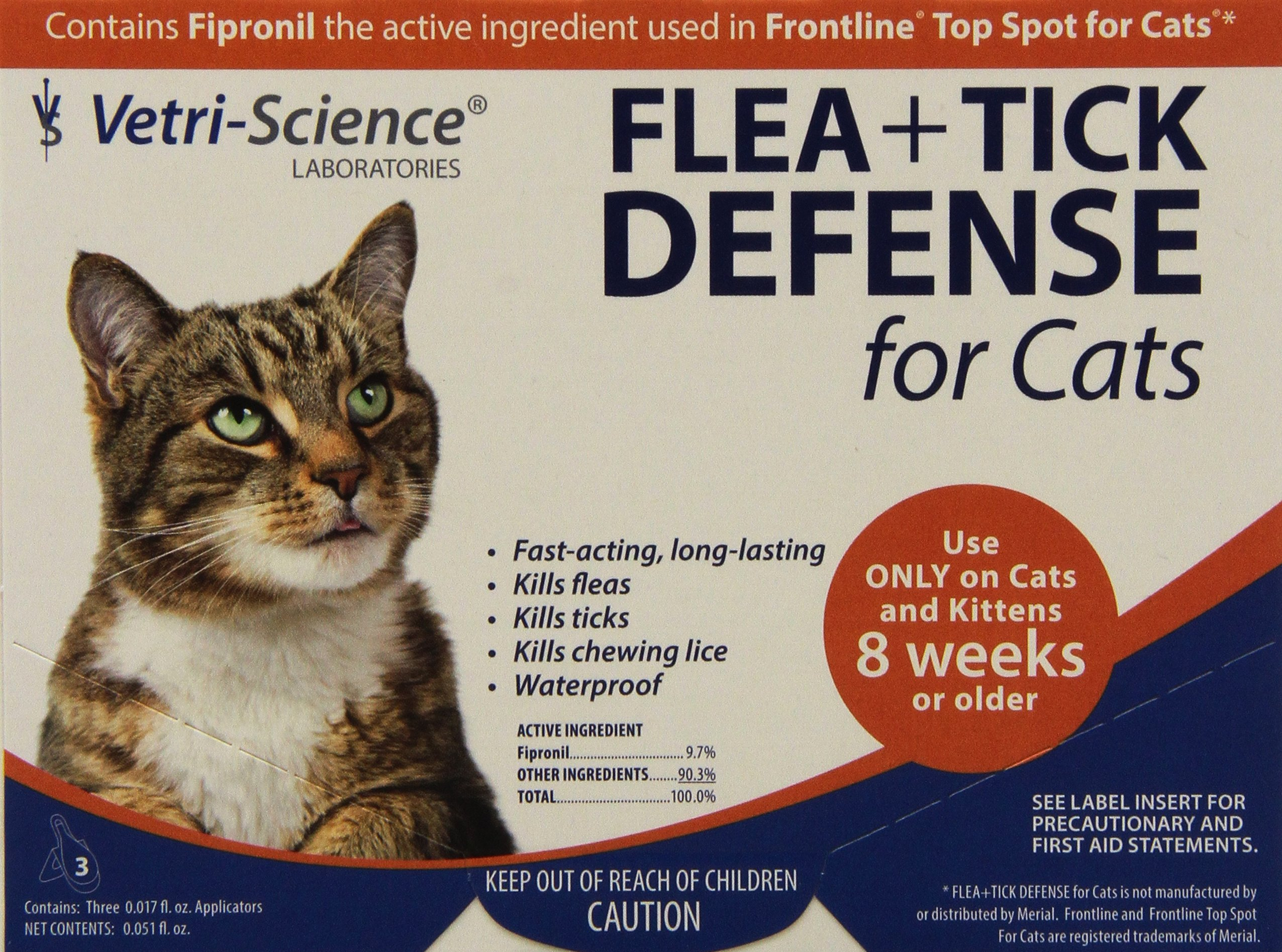 VetriScience Laboratories Flea and Tick Defense for Cats and Kittens, 12 Doses