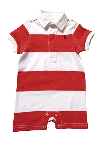 cbc04ad2b Image Unavailable. Image not available for. Color: RALPH LAUREN Baby Polo  Short Sleeve Striped Romper