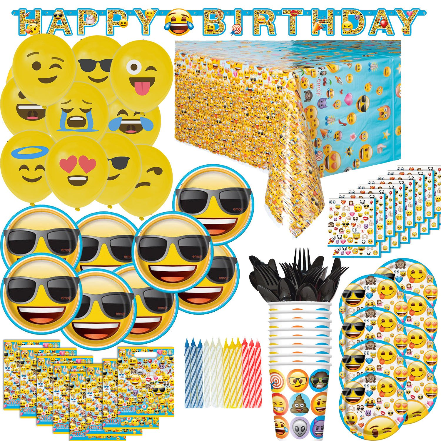 Amazon HeroFiber Emoji Birthday Party Supplies And Decorations For 8
