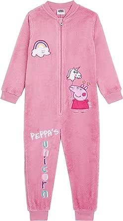 Peppa Pig Pijama Niña Entera con diseño de Peppa y Unicornio, Mono de una Pieza Forro de vellón súper Suave, Ropa de Dormir de Invierno, Regalos de Unicornios para niñas Niños (3/4 años)