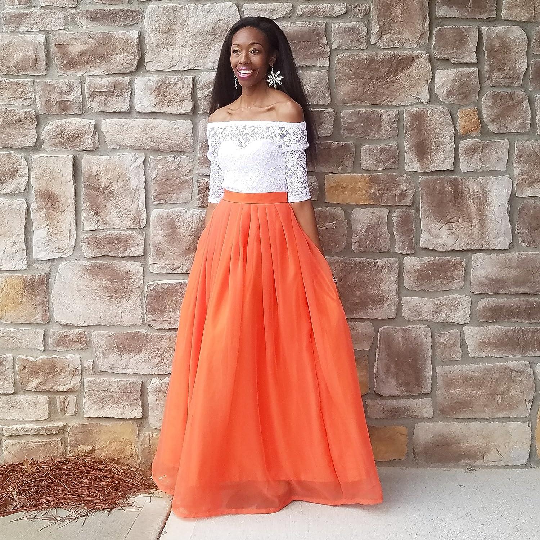 8eb01383133c21 Orange Chiffon Maxi Skirt | Huston Fislar Photography