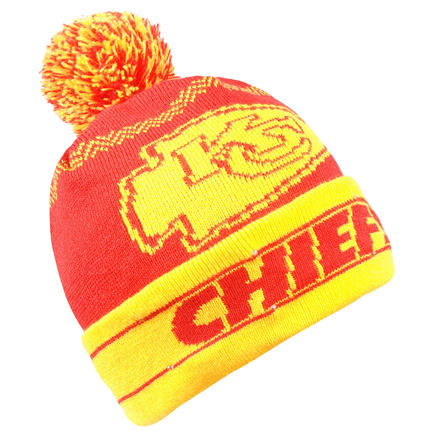 8e9372233165a1 Amazon.com : Forever Collectibles NFL Kansas City Chiefs LED Pom Pom Knit  Hat, Red, One Size : Sports & Outdoors
