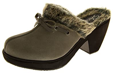 f52ddbf609ac8 Ladies Skechers Leather Suede High Heels Fur Lined Winter Clogs Size 3 4 5  6 7 8