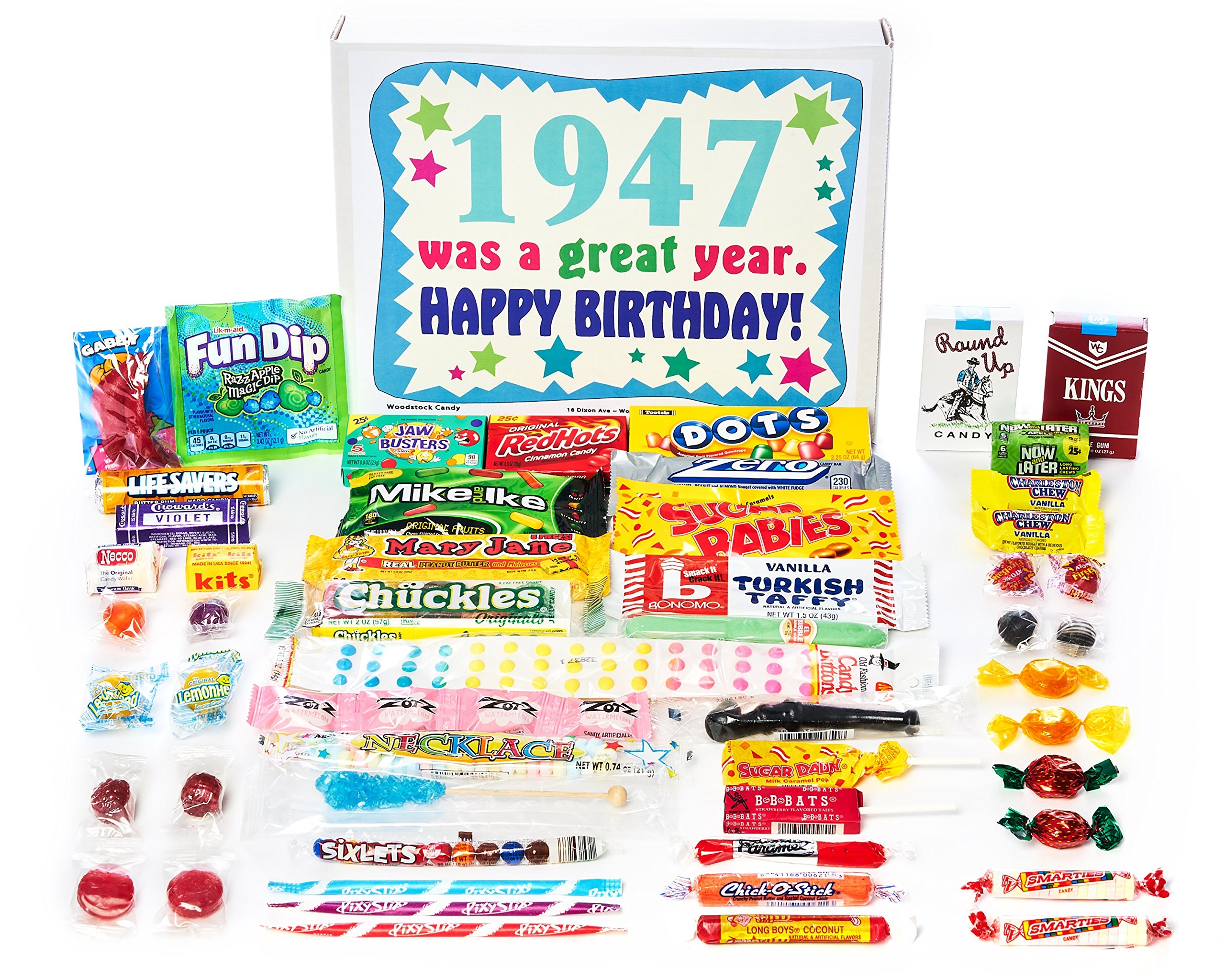 Woodstock Candy ~ 1947 72nd Birthday Gift Box of Nostalgic Retro Candy from Childhood for 72 Year Old Man or Woman Born 1947