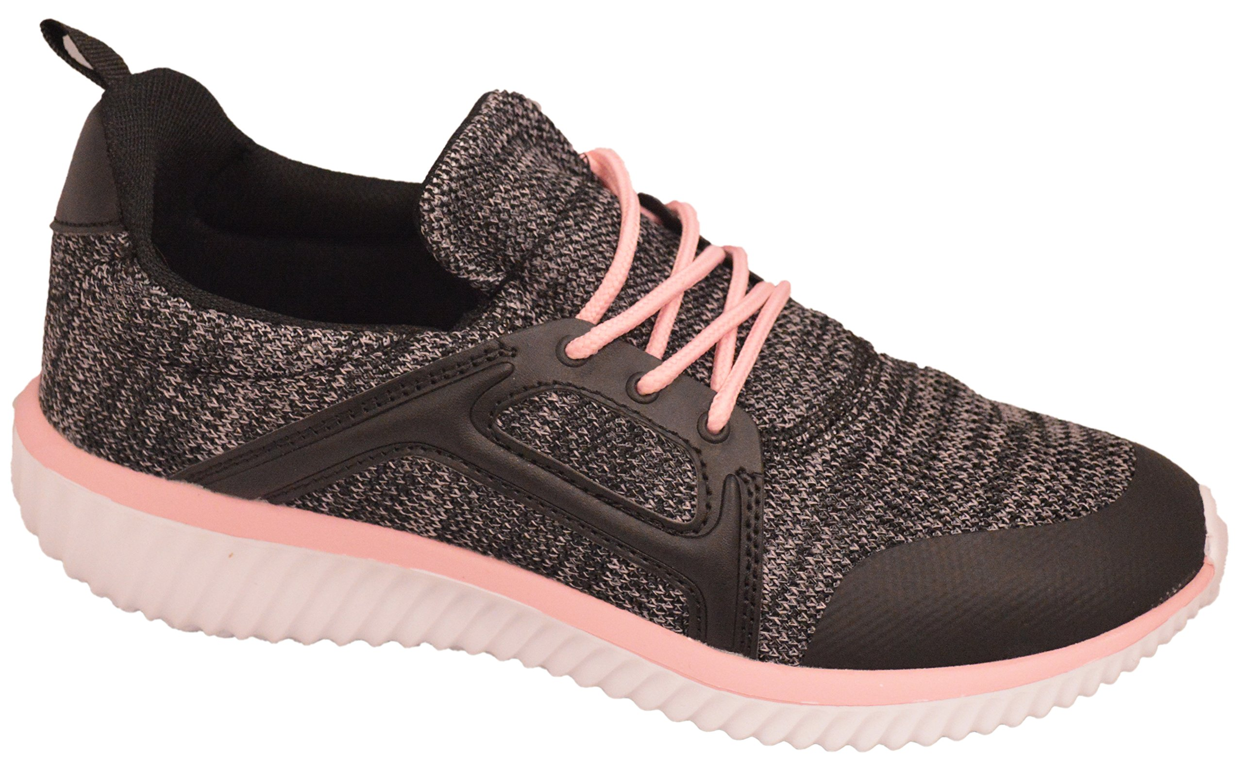 Shop Pretty Girl Womens Sneakers Athletic Knit Mesh Running Light Weight Go Easy Walking Casual Comfort Running Shoes 2.0 (10, Black and Pink - J3947B)