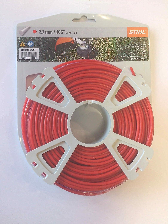 Línea de alambre Cortacésped Stihl 0000 930 2343 2,7 mm 68 m rojo redondo
