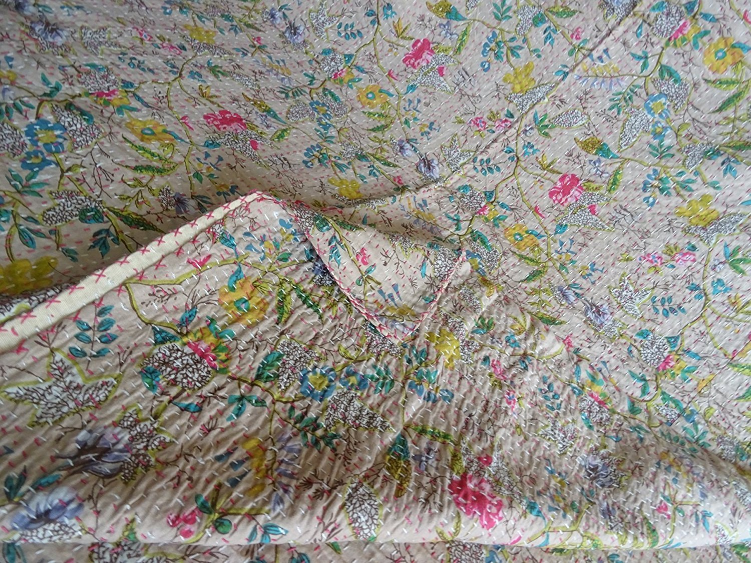 Indian Multicolor Paisley PARADISE Print King Size Kantha Quilt , Kantha Blanket, Bed Cover, King Kantha bedspread, Bohemian Bedding Kantha (Begie) by Sophia Art (Image #3)