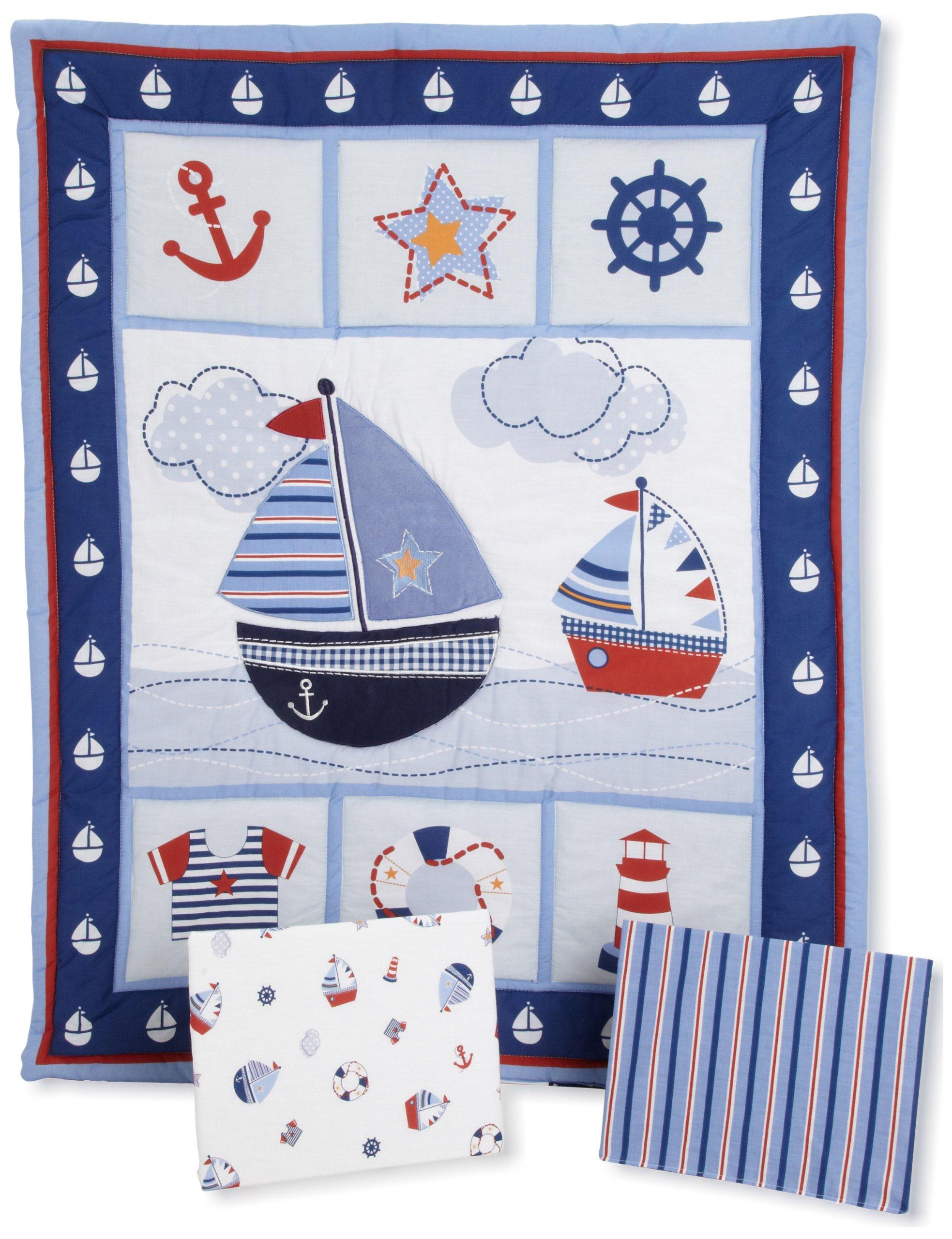Bedtime Originals Sail Away 3 Piece Bedding Set, Blue