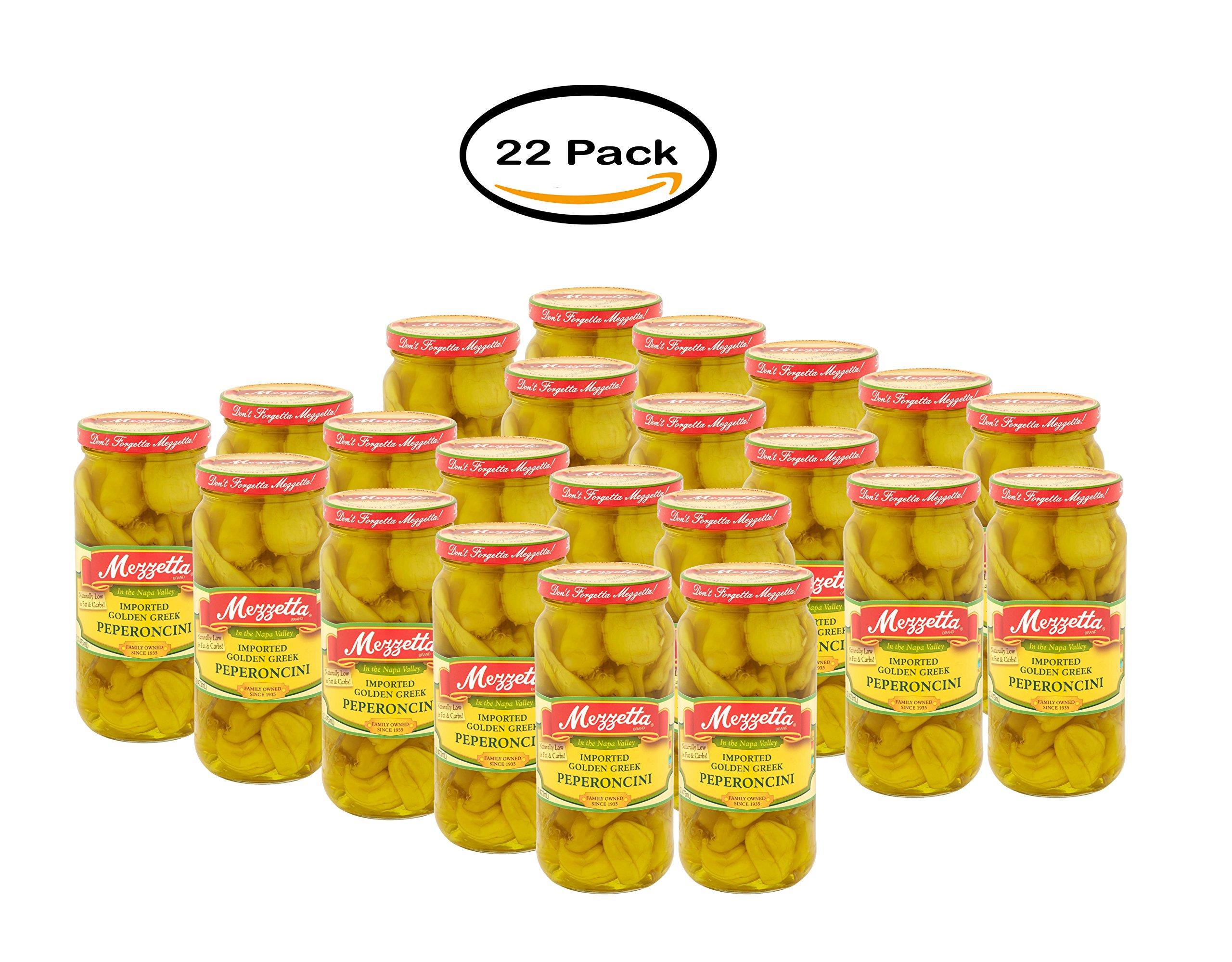 PACK OF 22 - Mezzetta Imported Greek Golden Pepperoncini, 16 fl oz by Mezzetta