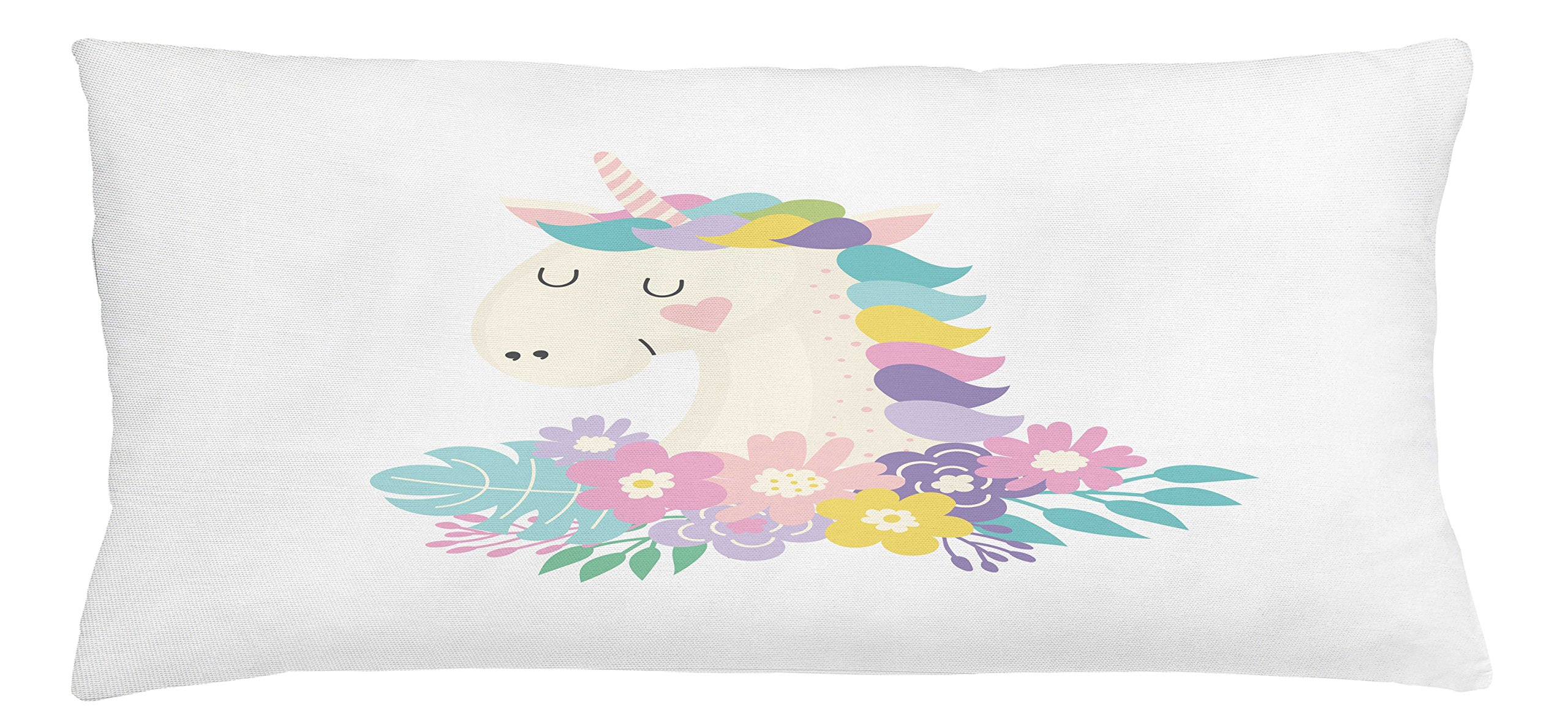 Lunarable Unicorn Throw Pillow Cushion Cover, Colorful Flowers with Mythical Horse Portrait with Horn Girly Cartoon Illustration, Decorative Square Accent Pillow Case, 36 X 16 inches, Multicolor