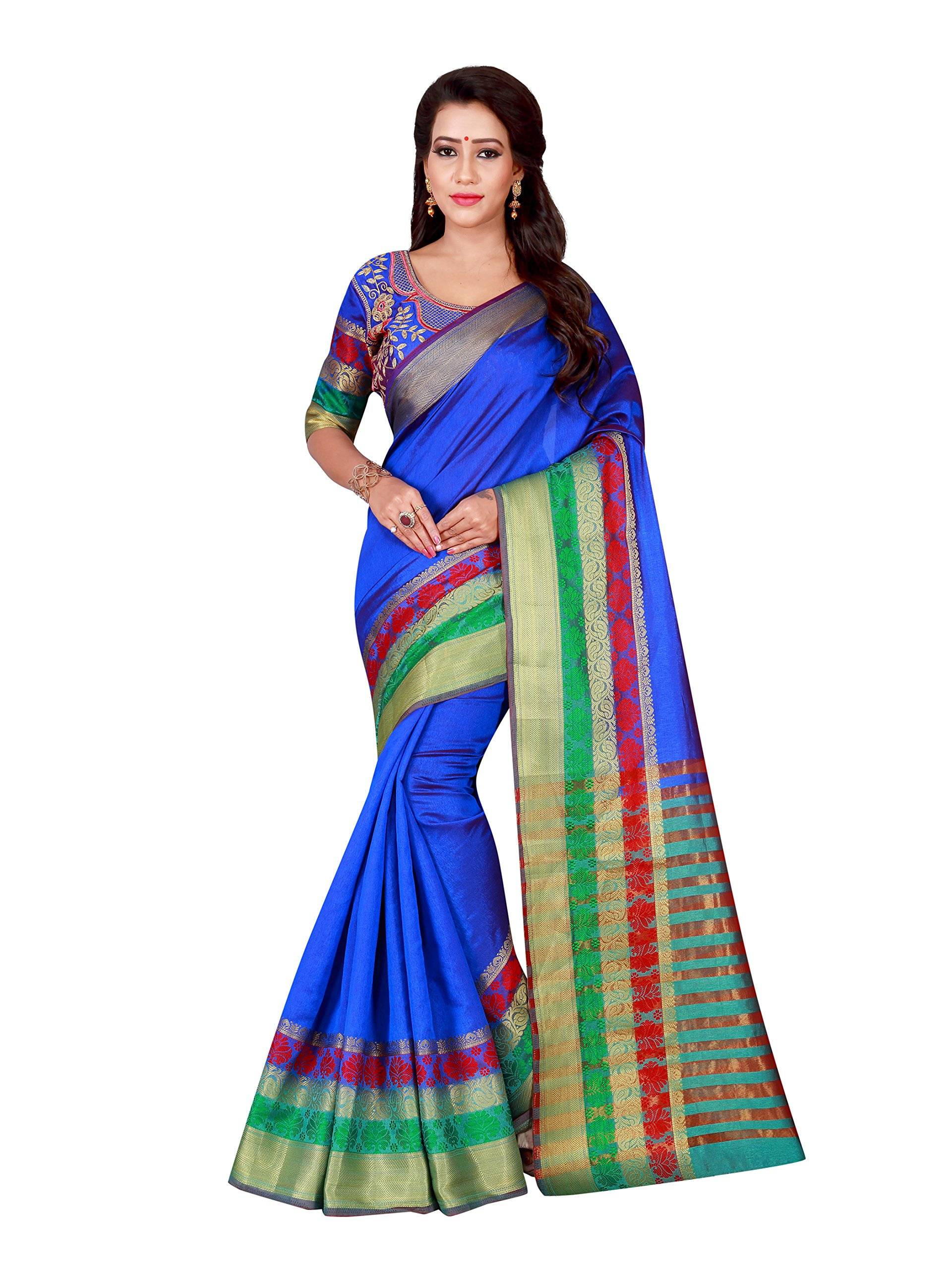 Shonaya Women's Bhaglpuri Art Silk Printed Saree With Unstitched Blouse Piece (Blue1)
