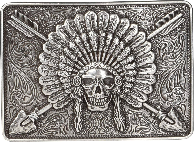Ariat Men's Rectangle Chief Skull Buckle