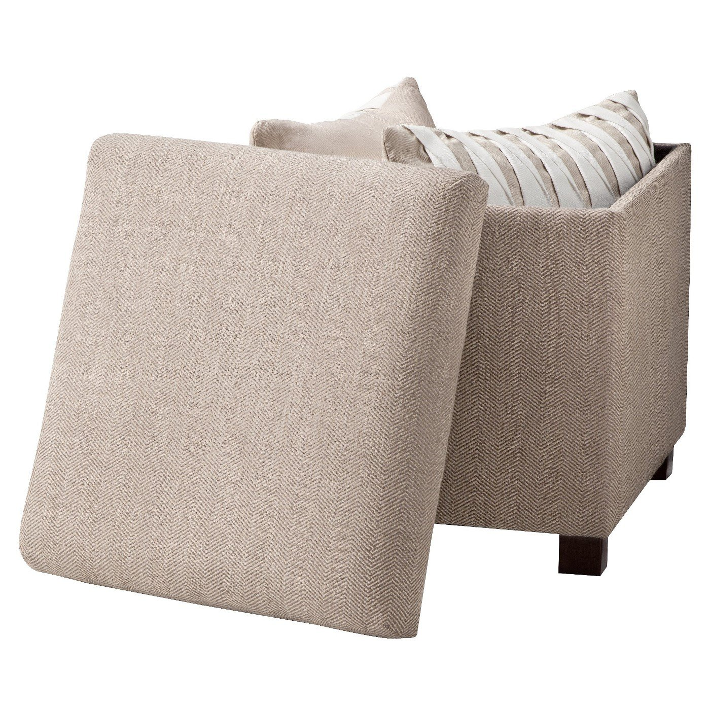 Great Deal Furniture 239320 Christabel Beige Fabric Ottoman Footstool,