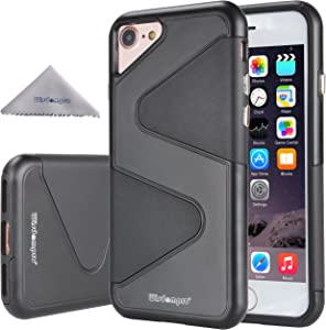 iPhone SE 2020 Case, iPhone 8 Case, iPhone 7 Case, Wisdompro Heavy Duty 2 in 1 Hybrid Shockproof Protective 2-Layer Armor Case (Hard S-Line PC Shell & Soft TPU Inlay) for iPhone 7/8/SE 2 - Black/Black