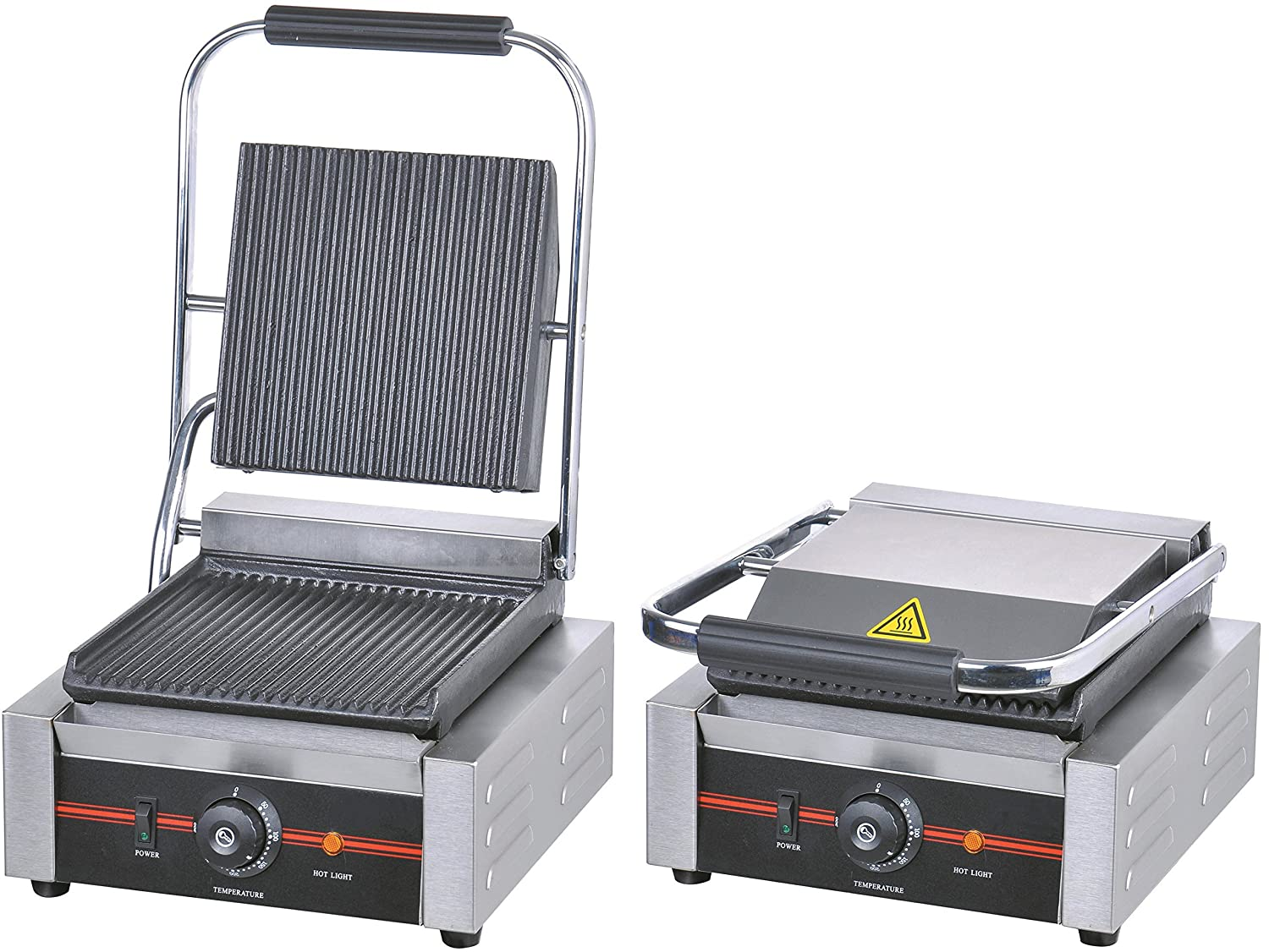 Grooved Panini Press Ribbed Contact Grill Toaster Sandwich Commercial Machine